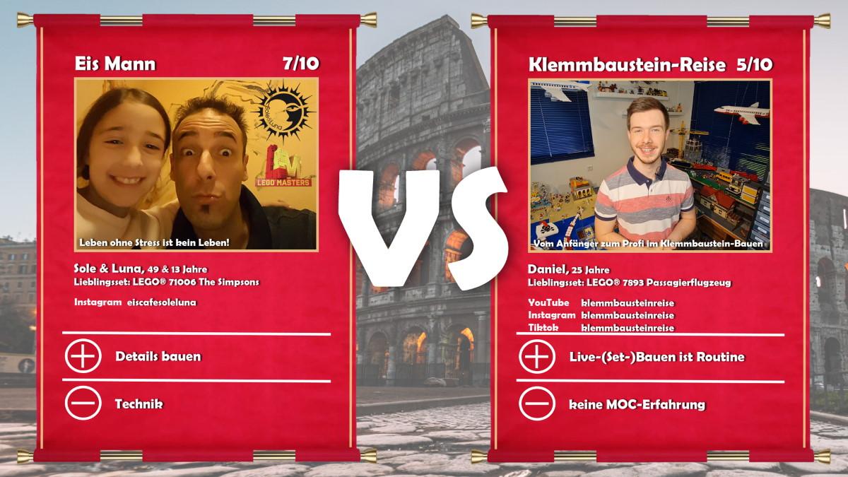 Eis Mann (LEGO® Masters Kandidat Guiseppe mit Tochter) vs Klemmbaustein-Reise (Daniel)